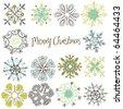 Cute Retro Snowflakes - stock vector