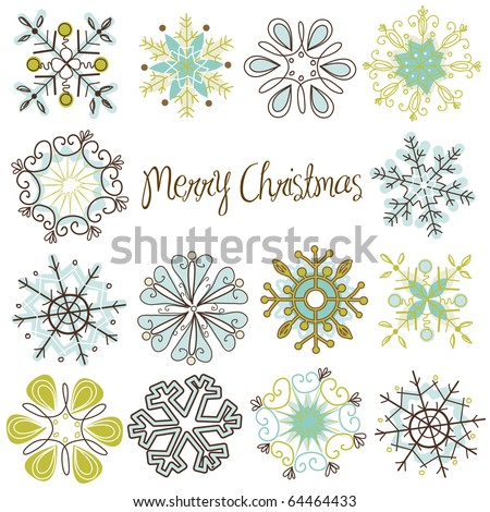 Cute Retro Snowflakes - stock vector