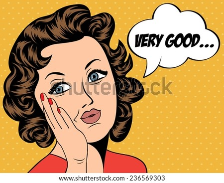 cute retro woman in comics style with message, vector illustration - stock vector