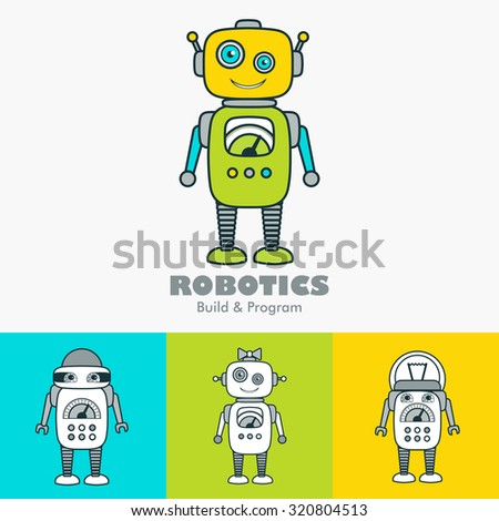 Cute Robot Cartoon Character educational flat icon template set. School, after-school business sign, mascot for kids' activities, technology education club concept. Sample text. Layered, editable - stock vector