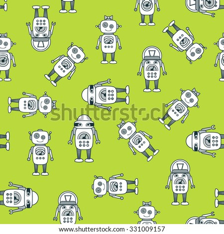 Cute Robot Cartoon Character seamless vector pattern. School, after-school kids' activities, technology education concept. Use for youth targeted product decoration. Editable - stock vector