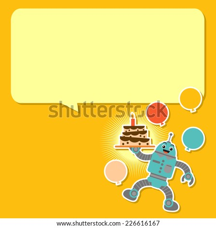 Cute robot in birthday background - stock vector