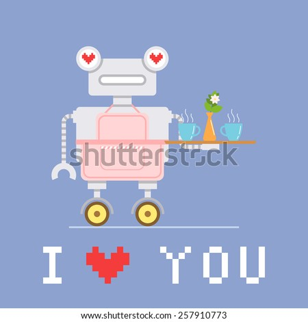 Cute robot in pink apron holding tray with food. Valentine's day card. Vector illustration  - stock vector