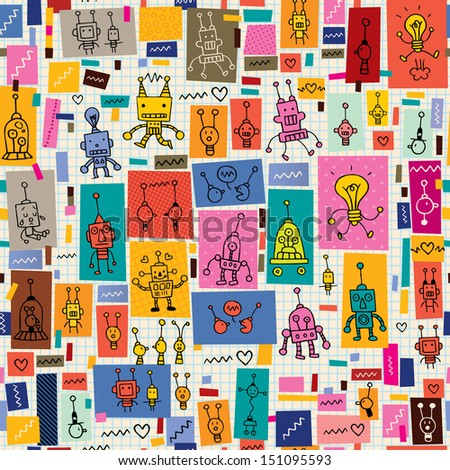 Cute Robot Doodles Cute Robots Collage Cartoon