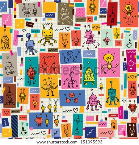 Cute Robot Doodles Cute Robots Collage Cartoon