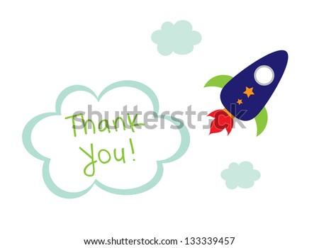 cute rocket thank you tag - stock vector