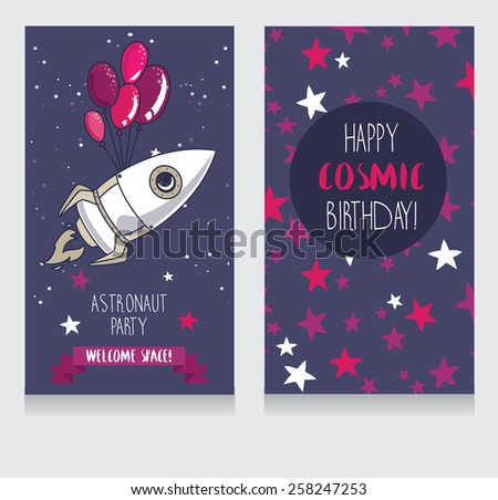 cute rocket with balloons on starry background, funny invitation cards for boy's birthday party, cosmic vector illustration - stock vector