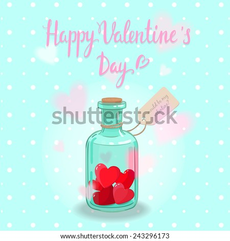 Cute romantic card can be used as greeting card,invitation wedding card, valentine's day and other holiday. Vintage bottle full of red shiny heart with label on a robe. Nice handwriting love message  - stock vector