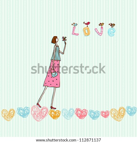 Cute romantic illustration, girl in love. Decorative background with hearts, birds, young girl and text love - stock vector