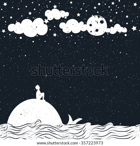 Cute romantic vector illustration with man silhouette, astronomer, sitting on a whale and looking at the moon. Inspiration dreamland typography poster. Moon, starry night, sea and clouds.  - stock vector
