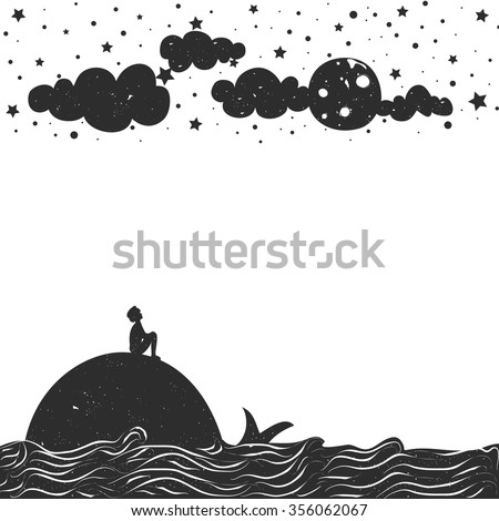 Cute romantic vector illustration with man silhouette sitting on a whale and looking at the moon. Inspiration typography poster. Moon, stars, sea and clouds. - stock vector