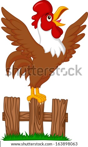 Cute rooster crowing on the fence - stock vector