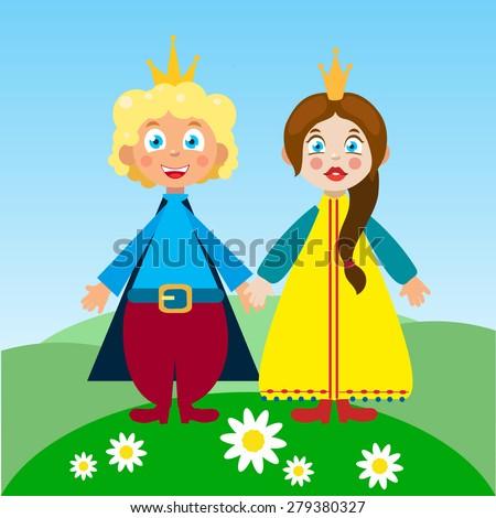 Cute royal couple family  characters princess prince - stock vector