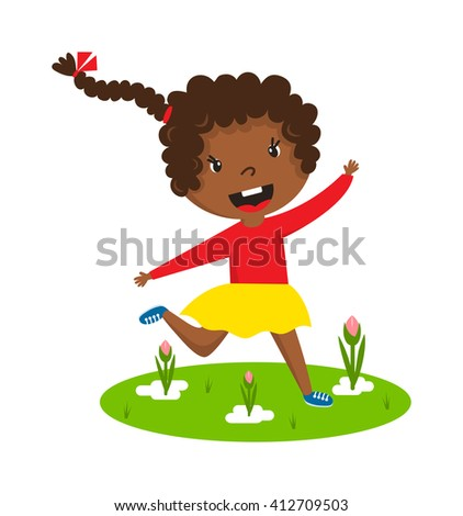 Cute running black afro girl with curly frizzy hair on green grass vector character illustration. Afro girl running young female happy kid and afro girl running training sport runner play game. - stock vector