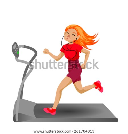 Cute running girl in cartoon style. Healthy lifestyle. - stock vector