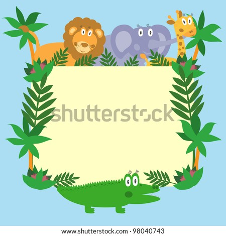 Cute safari cartoon animals - lion, giraffe, crocodile and elephant. Vector eps10 illustration - stock vector
