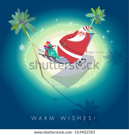 Cute Santa Claus is relaxing in hammock on little tropical island. Seasons Greetings concept. Vector EPS 10 illustration. - stock vector