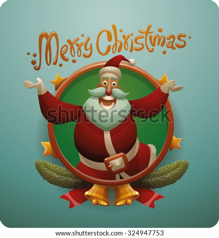 Cute Santa Claus jumping frame, vector - stock vector
