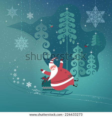 Cute Santa Claus on a sled slides down a snowy hill bringing Christmas gifts. Seasons Greetings concept. Vector EPS 10 illustration.  - stock vector