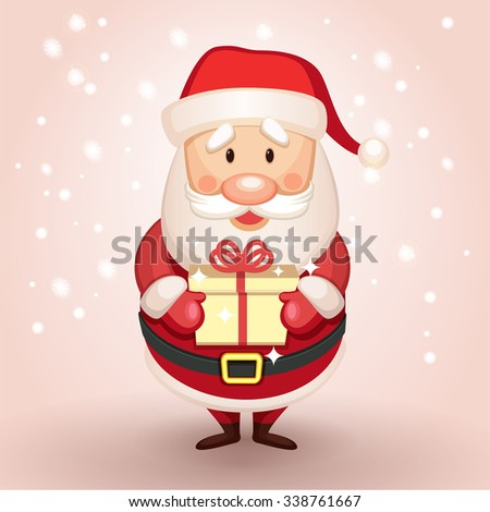 Cute Santa Claus presents a gift, holding a gift in his hands - stock vector