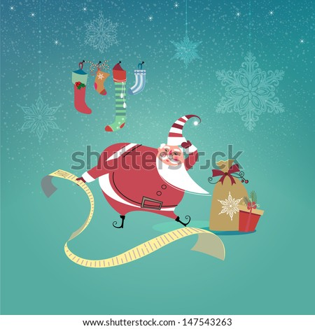 Cute Santa Claus trying to read an extra long wish list. Vector EPS 10 illustration.   - stock vector