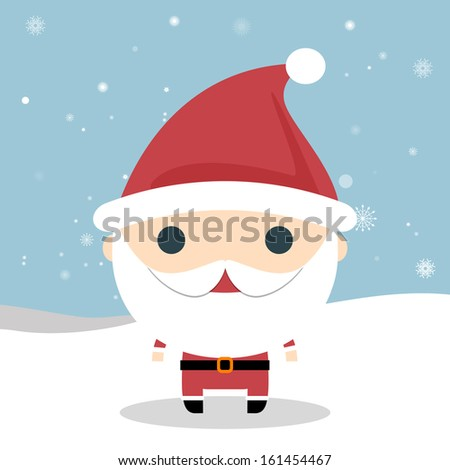 Cute Santa Claus. Vector Santa Claus wave. Vector illustration for retro christmas card. Snow landscape background. Happy Santa. Santa Claus with presents. - stock vector