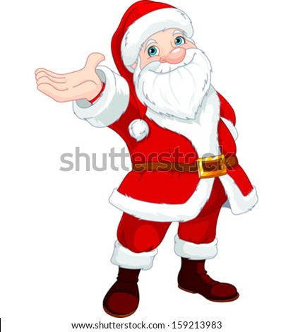Cute  Santa Clause with his arm raised to present something, sing or announce.  - stock vector