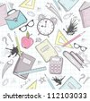 Cute school abstract pattern. Seamless pattern with alarm clock, bags, glasses, stars, books and ink stains. Fun pattern for teenagers or children. - stock vector