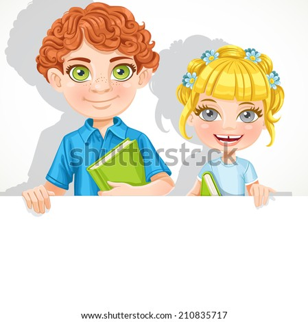 Cute school boy and girl with book hold big banner - stock vector