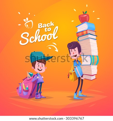 Cute School Children. School activities. Back to School isolated objects on yellow background. Great illustration for a school books and more. VECTOR. - stock vector