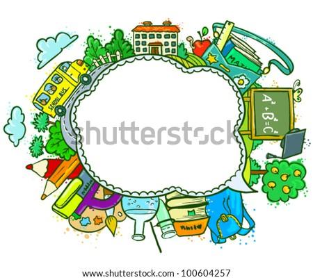Cute school (education) speech bubble - stock vector
