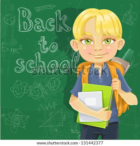 Cute schoolboy with textbooks and notebooks backpack near blackboard - stock vector