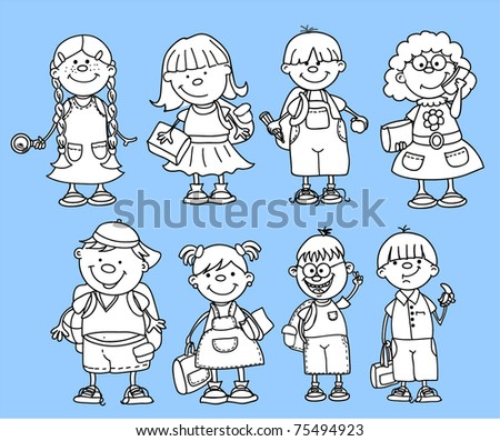 cute schoolboys and schoolgirls,black and white coloring - stock vector