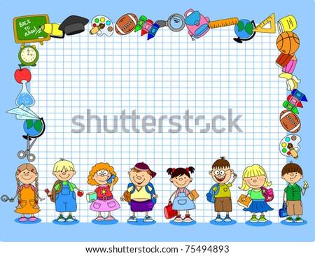 cute schoolboys and schoolgirls, School elements, the frame - stock vector