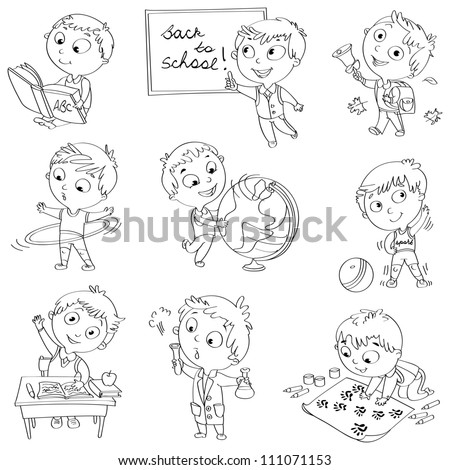 Cute schoolchild at a lesson of geography, literature, physical education, biology, chemistry, drawing. Schoolboy is raising his hand to answer a question. Wrote in chalk on blackboard Black and white - stock vector