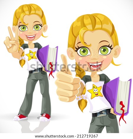 Cute schoolgirl with a textbook making victory sign - stock vector