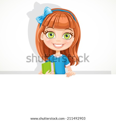 Cute schoolgirl with textbook hold big white banner - stock vector