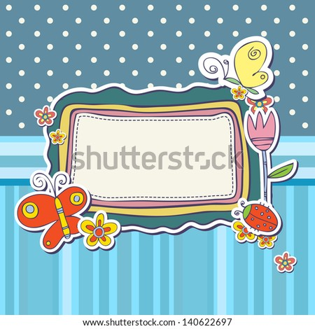 Cute scrap set with flowers and butterfly - stock vector