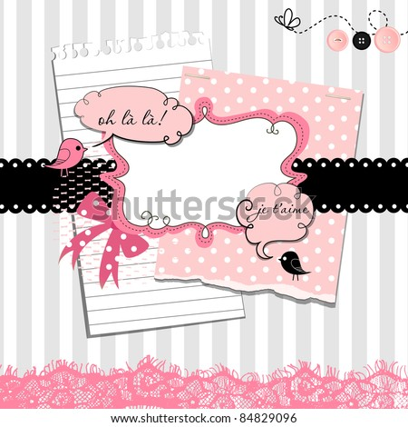 Cute scrapbook elements - stock vector