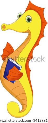 cute sea horse holding blue book - stock vector