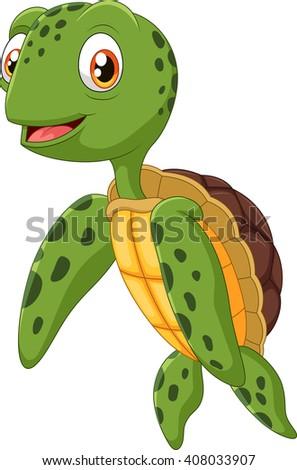 Cute sea turtle cartoon waving hand - stock vector