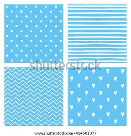 cute seamless baby shower pattern set vector design - stock vector
