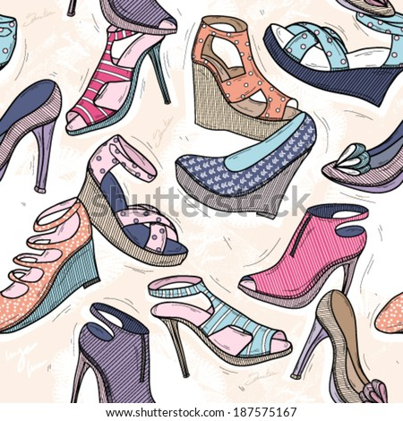 Cute seamless fashion pattern for girls or woman. Background with shoes. - stock vector