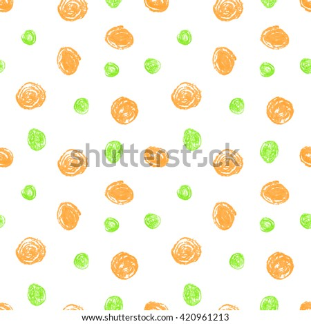 Cute seamless grunge childish pattern of the crayon orange and green stains on white background. Design element for background, textile, paper packaging, wrapping paper and other. Vector illustration. - stock vector