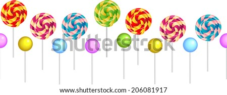 Cute seamless horizontal pattern with colorful realistic stick candy. - stock vector