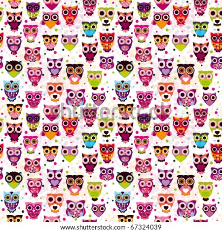 Cute seamless owl background patten for kids in vector - stock vector