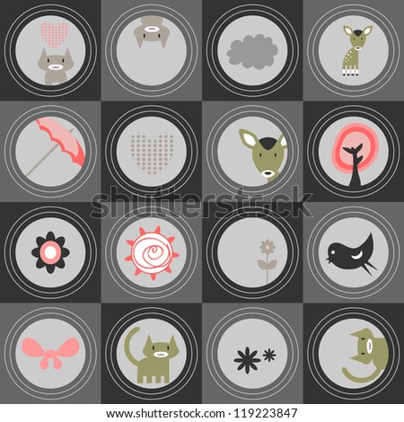 Cute seamless pattern, animals, various elements - stock vector