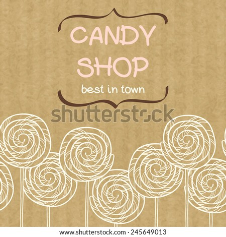 Cute seamless pattern made of hand drawn doodle caramel candies with text box in shape of curved brackets. Cartoon sweets isolated on brown kraft paper background. - stock vector