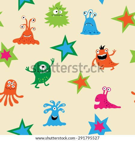 Cute seamless pattern with a monsters - stock vector