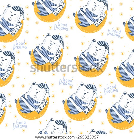 Cute Seamless pattern with bear. Good dreams. Good Night - stock vector